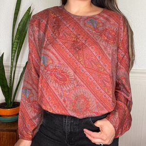Vintage Saks Fifth Avenue Paisley Silk Blouse